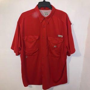 Columbia PFG Men's Red Button Down Shirt Size XL